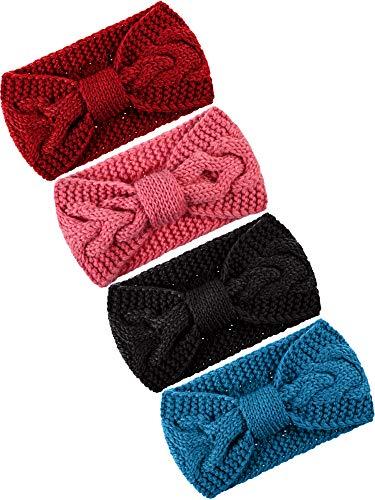 Pangda 4 Pieces Cable Knit Headband Crochet Headbands Plain Braided Head Wrap Winter Ear Warmer for Women Girls, 4 Colors (Multicoloured B)