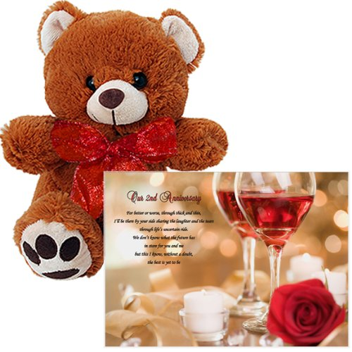 Our Second Anniversary - Love Poem and 10 Inch Teddy Bear for a 2nd Wedding Anniversary - Poem and Bear