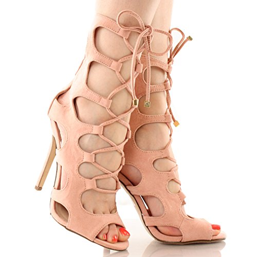 Breckelles Womens Gladiator Heels Tie Up Sandals Nude 8.0 in the