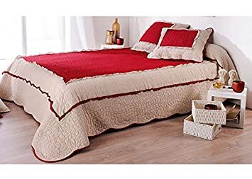Royal Tiss Couvre Lit Boutis Marquise Rouge Et Beige Rouge