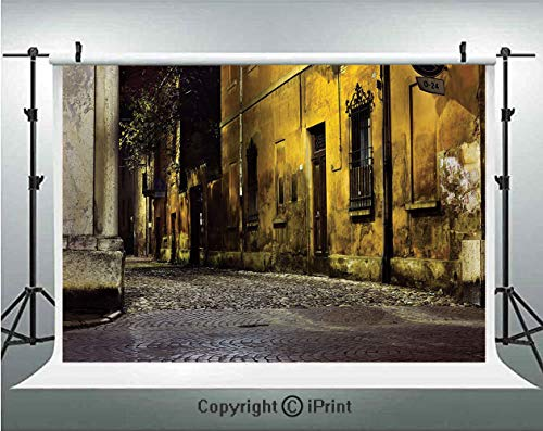 Street Decor Photography Backdrops Old Ancient Empty Dark City Streets Avenues with Big Light and Homes Photo,Birthday Party Background Customized Microfiber Photo Studio Props,10x6.5ft,Multicolor