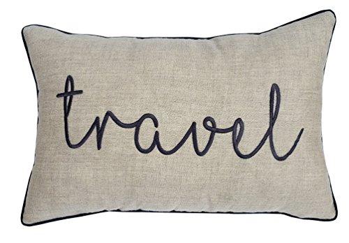 YugTex Pillow cover Emboidered Travel Quote Pillow Cover, Wanderlust, World Explorer Gift, Gift for Traveler, Home Decor, Adventure Pillowcase, Graduation Gift Ideas (12x18, Travel(Natural))