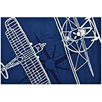 The Rug Market Outline Plane Area Rug, 2.8 x 4.8, Navy