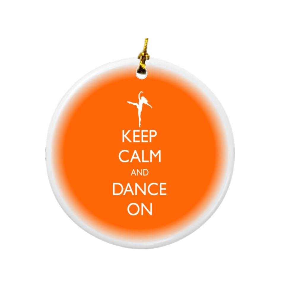 Rikki Knight Keep Calm and Dance on Orange Color Design Round Porcelain Two-Sided Christmas Ornaments