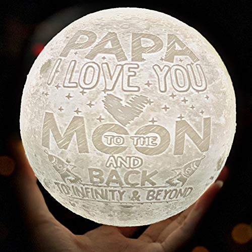 VTH Global Papa I Love You to The Moon and Back 3D Printed Lamp Night Lights Best Poppy Grandfather Grandpa Papa Gifts for Birthday from Grandson Granddaughter Grandchildren Grandkids