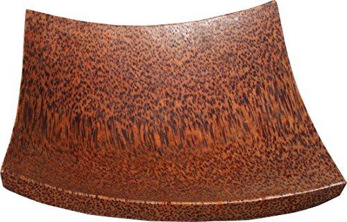 RaanPahMuang Japanese Wasabi Yum Tempura Rectangle Curved Serving Plate Palm Wood, 6x6 inch, Light Wood