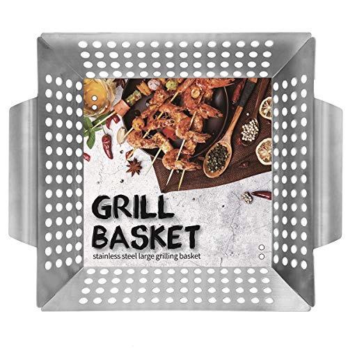 "Ranphykx Vegetable Grill Basket - BBQ Grilling Basket (Large 12""x12""x3"") for Veggies, Kabobs, Seafood, Meats - Stainless Steel"