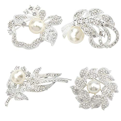 Crystal Shiny Brooch Pin - Brooches for Women Classy Flower Sliver 4 Packs Brooch Pin with Shiny Created Crystal by Luo's