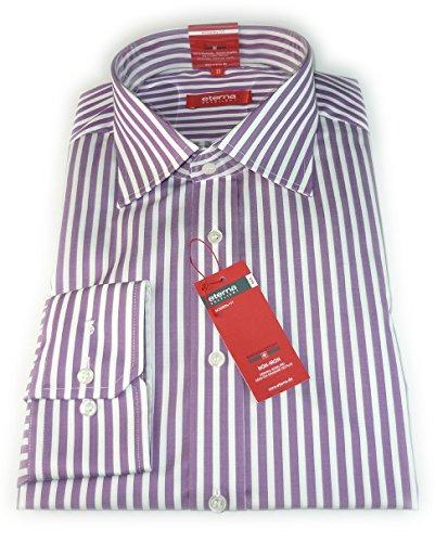 ETERNA Herren Langarm Hemd Modern Fit lila (beere) / weiß gestreift mit Brusttasche 4694.95.X187