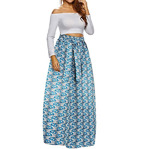 Leapparel Women Girls Printed High Waist Maxi Skirt With elastic waist&Pockets,color:H0010,Large