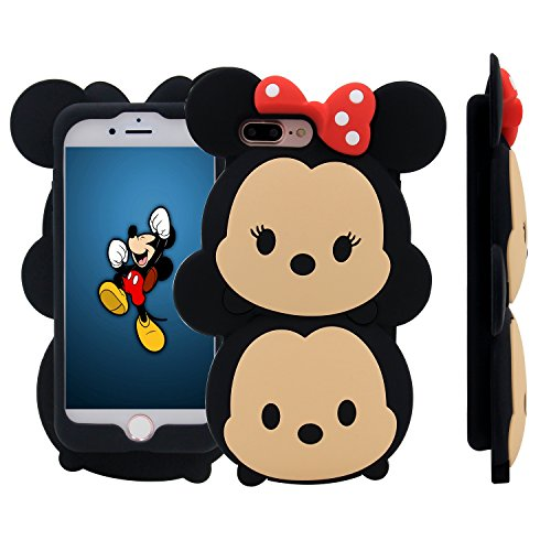 iPhone 7 Plus Case, MC Fashion Cute 3D American Cartoon Characters Minnie and Mickey Mouse Silicone Case Compatible for Apple iPhone 7 Plus (2016) Release (Minnie and (Cute Girl Cartoon Characters)
