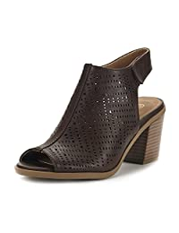 DREAM PAIRS Route New Women's Open Peep Toe Slip On Perforated Mid Chunky Heel Ankle Pump Sandals