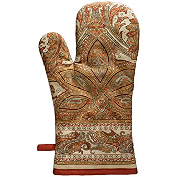 Maison d' Hermine Kashmir Paisley 100% Cotton Oven Mitt, 7.5 - inch by 13 - inch. Perfect for Thanksgiving and Christmas