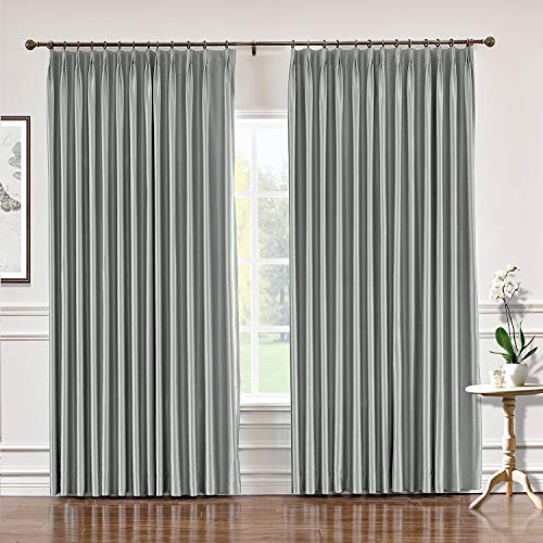 (TWOPAGES 84 W x 84 L Pinch Pleat Faux Silk Curtains Drapery Panel for Traverse Rod Or Track, Living Room Bedroom Meetingroom Club Theater Patio Door (1 Panel), Light Gray)