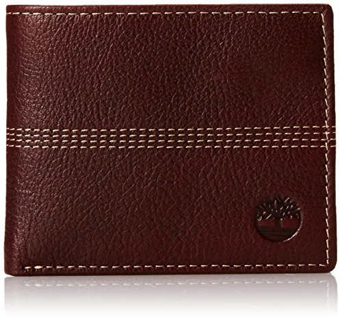 Timberland Men's Blix Slimfold Leather Wallet, Burgundy (Quad Stitch), One Size