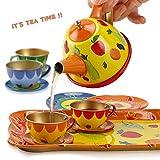 Liberty Imports Colorful Fruit Tin Tea Party Set
