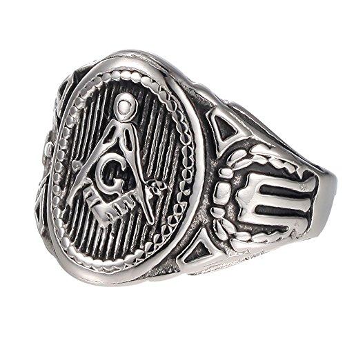 Vintage Masonic Ring Freemason Symbol Member Silver/Gold Stainless Steel Punk Mason Jewelry Band