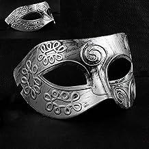 Foxnovo Masquerade Face Mask Men Greek Roman Fighter Masquerade Masks for Party / Ball Prom /Wedding (Silver)