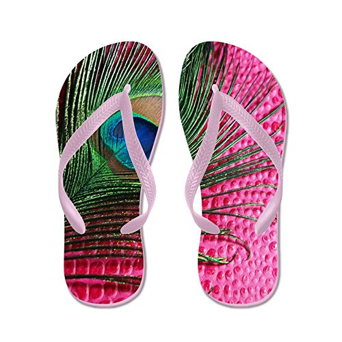 Cafepress Hot Pink Peacock Feather - Infradito, Divertenti Sandali Infradito, Sandali Da Spiaggia Rosa