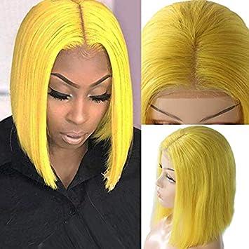 Amazon.com : Human Hair Wig Yellow Lace Frontal