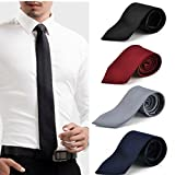 Combo Set - 4 Men's Slim Necktie Tie B'day Birthday Gift for Him | Office | Celebration | Party
