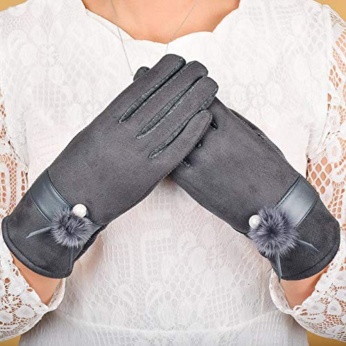1 Pc (1 Pair) Touchscreen Winter Gloves Color Gray Fur Pompom Mitten Unisex Mens Women Girls Kids Likely Fashionable Extreme Gym Baseball Cycling Plus Work Hand Wrist Straps Dryer Touch Glove