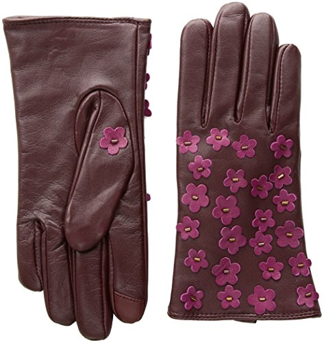 Echo Women's Blossom Applique Leather Touch Technology Glove, port, Small by Echo Design