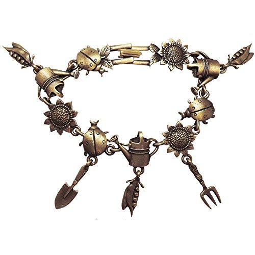 Vintage Gardeners' Bracelet, Usa, Signed Jj, Antique Brass in Antique (Vintage Bracelet Signed)