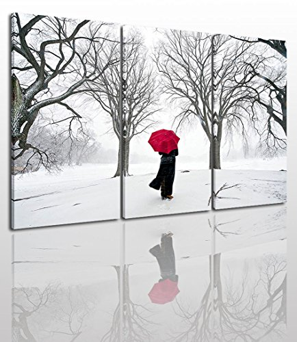 Black White And Red Canvas Wall Art Painting Modern Design Picture For Home Office Decor - 3 Pieces Snow Winter Landscape Framed On Wooden Frame Image Pictures Photo Artwork Decoration Ready To Hang (Black And White Art Design)