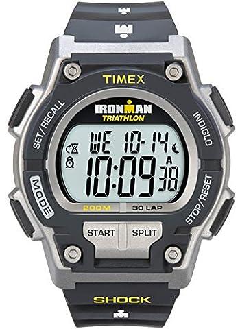 Timex Men's T5K195 Ironman Original 30 Shock Full-Size Black/Yellow Resin Strap Watch - Timex Water Resistant Watch