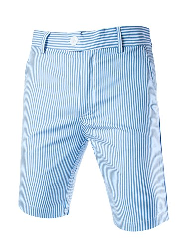 (uxcell Men Vertical Stripes Regular Fit Zip Fly Chino Shorts Blue White 30)