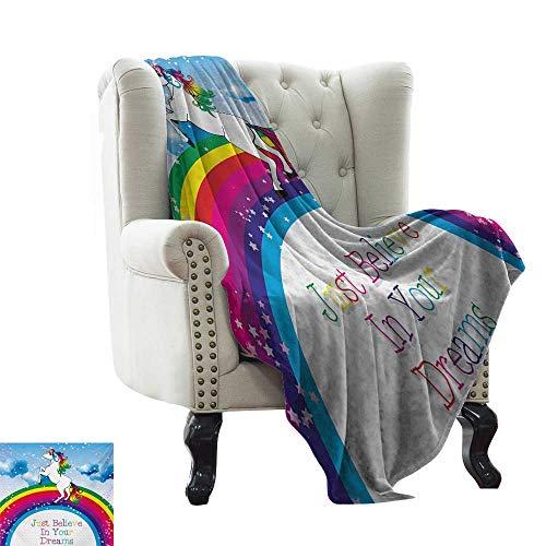 (BelleAckerman cat Blanket Kids,Unicorn Surreal Myth Creature Before Rainbow Clouds Star Fantasy Girls Fairytale Image,Multicolor Throw Blanket for Ultimate Comfort 60
