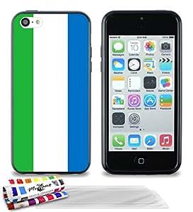 """Carcasa Flexible Ultra-Slim APPLE IPHONE 5C de exclusivo motivo [Bandera Sierra Leone ] [Negra] de MUZZANO  + 3 Pelliculas de Pantalla """"UltraClear"""" + ESTILETE y PAÑO MUZZANO REGALADOS - La Protección Antigolpes ULTIMA, ELEGANTE Y DURADERA para su APPLE IPHONE 5C"""