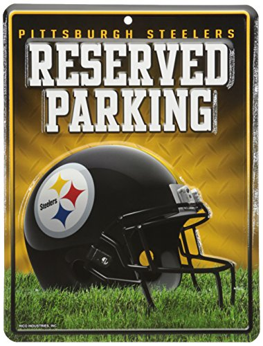 Pittsburgh Steelers Parking Sign - Rico NFL Pittsburgh Steelers 8-Inch by 11-Inch Metal Parking Sign Décor