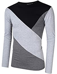 """<span class=""""a-offscreen"""">[Sponsored]</span>Men's Casual Elasticity Slim Fit Cotton Tops Contrast Color Stitch Crew Neck Long Sleeve Basic T Shirt"""