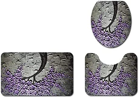 YJLJL 3-Piece Anti-Slip Carpet Waterproof softantibacterialeasy to maintainfashionable Bathroom Anti-Slip mat YJLJL (Color : Purple)