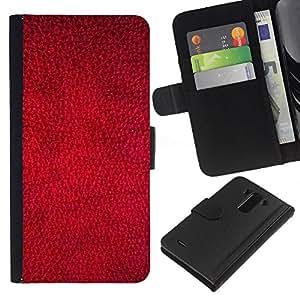 KLONGSHOP // Tirón de la caja Cartera de cuero con ranuras para tarjetas - Rojo del papel pintado Diseño Textura Arte Textil - LG G3 //
