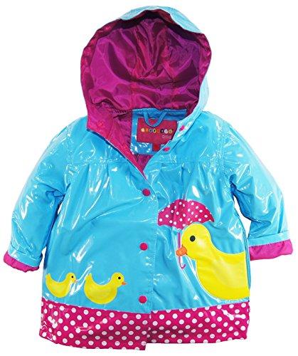 Wippette Little Girls' Toddler Waterproof Vinyl Hooded Duck Rain Jacket, Blue, 2T