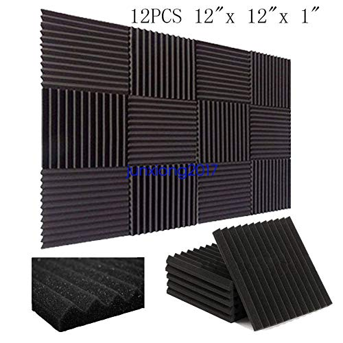 "FidgetGear 12 Pack Acoustic Panels Studio Soundproofing Foam Wedges 1"" X 12"" X 12"" from FidgetGear"