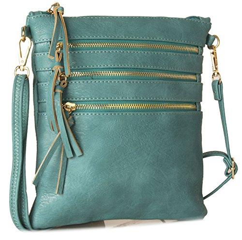Big Handbag Shop - Bolso bandolera Mujer verde azulado