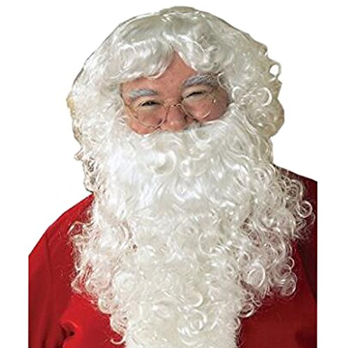 [Christmas Halloween Wig Synthetic Hair Curly and Beard Set Deluxe White Santa Fancy Dress Costume Wizard with Christmas hat 12 Inches] (Synthetic Santa Costumes Beard And Wig Set)