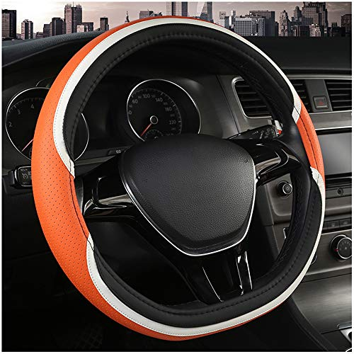 - D Shape Steering Wheel Cover,Anti-Slip Lines,Breathable,Durable Microfiber PU Leather Steering Wheel Cover for Car SUV Fit Diameter 14.5-15 inch Four Season Universal and Easy to Install(BLACK ORANGE)