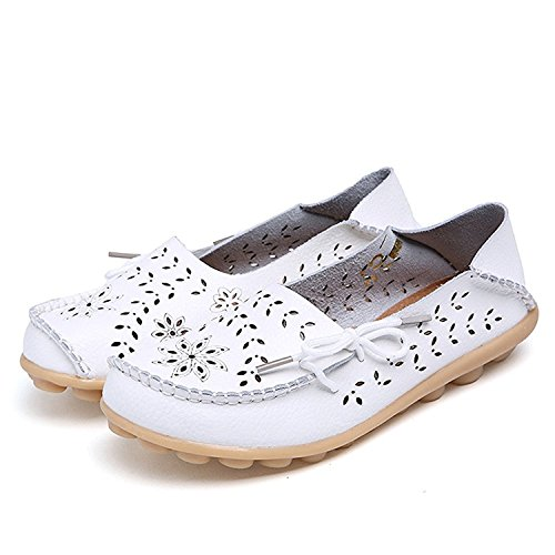 Frommk sandals Woman Hollow Casual Shoes Peas Driving Shoes Comfortable Flat Shoes Leather lace-up Shoes White35 M EU / 4.5 B(M) US -