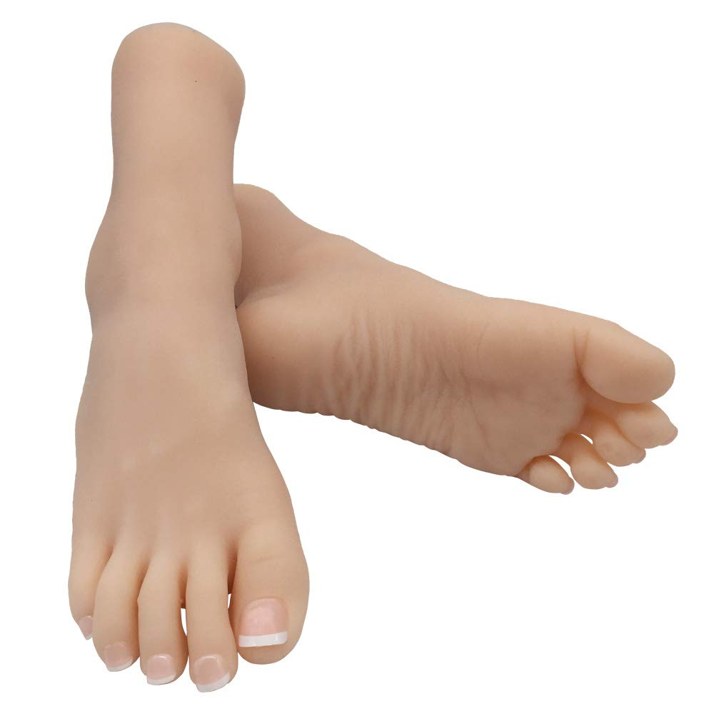 Silicone Life Size Child Mannequin Foot 1 Pair Display Jewerly Sandal Shoe Sock Display Art Sketch with Nail