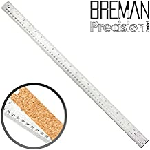 24 Inch Stainless Steel Metal Ruler- 24 Inch High Grade Flexible Stainless Steel Ruler with Non Slip Cork Base for Excellent Precision and Accuracy