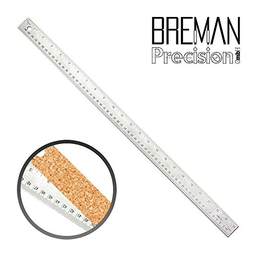 36 Inch Stainless Steel Metal Ruler - 36 Inch High Grade Flexible Stainless Steel Ruler with Non Slip Cork Base for Excellent Precision and Accuracy (Precision Ruler 36)