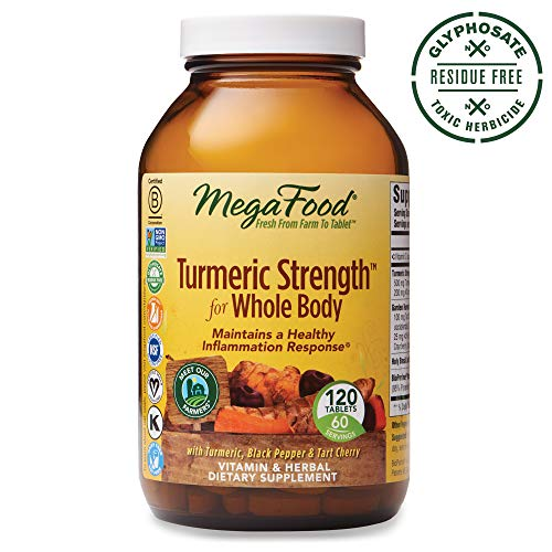 MegaFood, Turmeric Strength for Whole Body, Maintains a Healthy Inflammation Response, Vitamin and Herbal Dietary Supplement, Gluten Free, Vegan, 120 Tablets (60 Servings) ()
