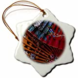 3dRose Danita Delimont - Patterns - Spain, Andalusia. Granada. Hand painted personal fans. - 3 inch Snowflake Porcelain Ornament (orn_277889_1)