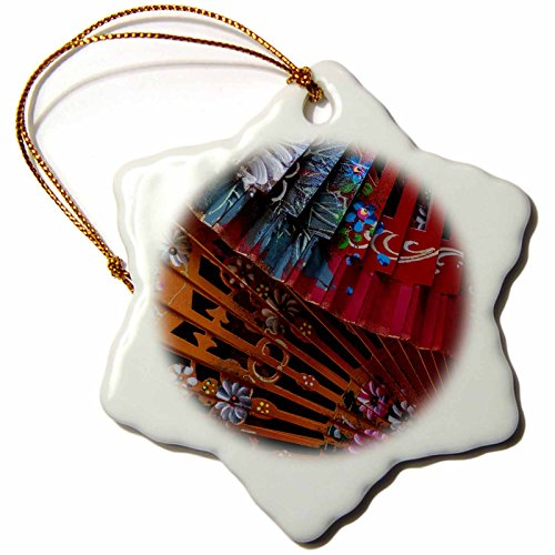 3dRose Danita Delimont - Patterns - Spain, Andalusia. Granada. Hand painted personal fans. - 3 inch Snowflake Porcelain Ornament (orn_277889_1) by 3dRose