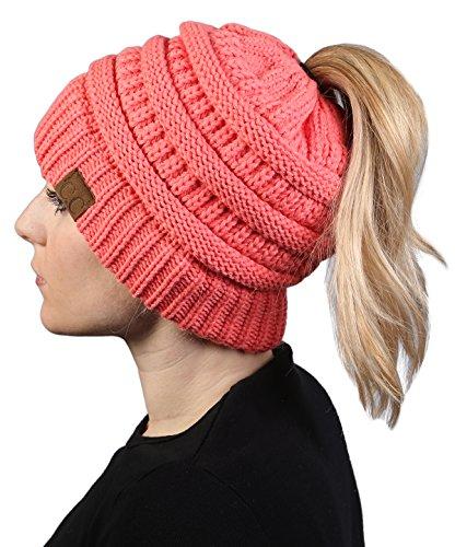 Galleon - BT-6020a-52 Messy Bun Womens Winter Knit Hat Beanie Tail - Coral a209a5223b62